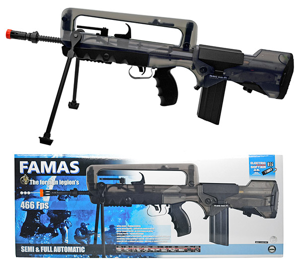 FAMAS F1 AEG Electric Airsoft Rifle - Clear Smoke