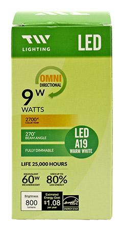 A19 LED Light Bulb - 800 Lumens - 2700k