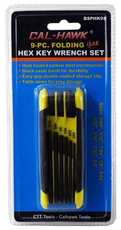9-pc. Folding Hex Key Wrench Set - SAE