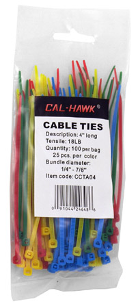 """100-pc. 4"""" Colored Zip Cable Ties"""