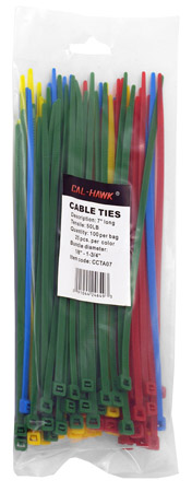 """100-pc. 7"""" Colored Zip Cable Ties"""