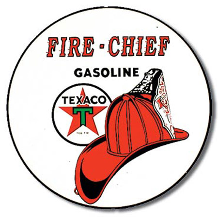 Texaco Fire Chief Round Tin Sign
