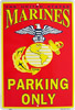 US Marines Parking Only Tin Sign
